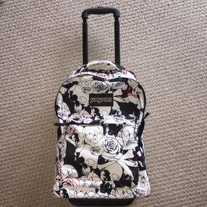 Jansport Superbreak wheeled backpack- skull/roses